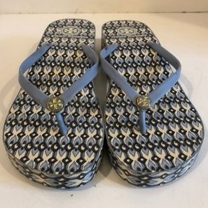 Tory Burch Blue Rubber Wedge Flip Flop Thong Slip